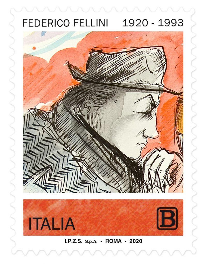 Centenario della nascita di Federico Fellini.Un francobollo dedicato all'artista del cinema italiano