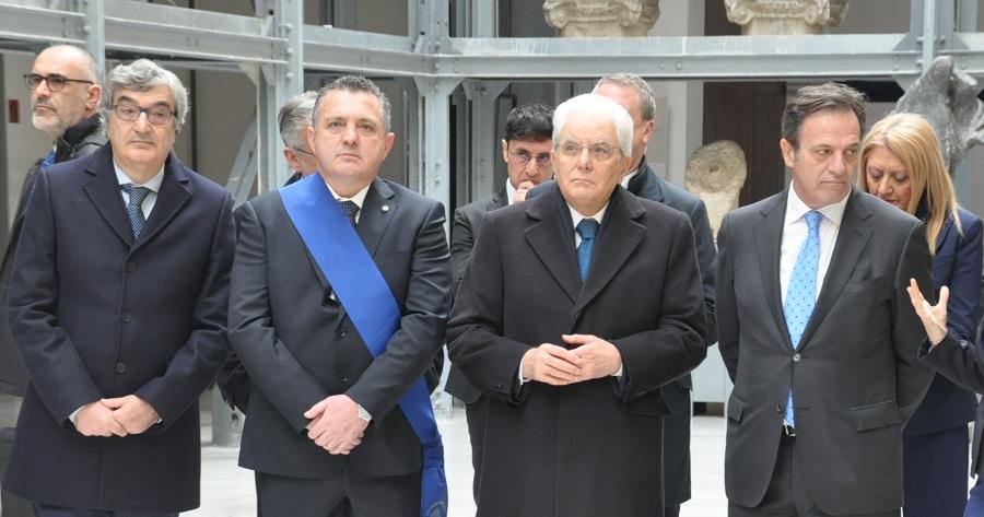Il Presidente della Republica Sergio Mattarella al Museo del Sannio accolto da Di Maria