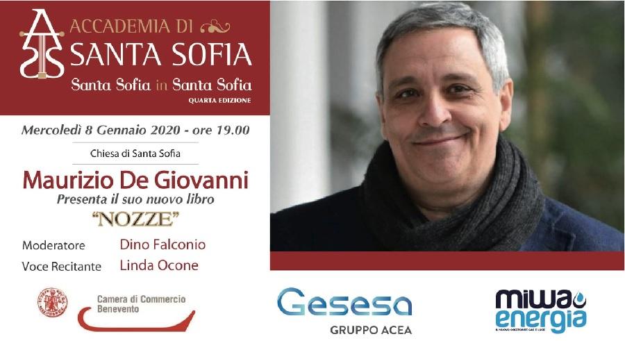 """Rassegna """"Santa Sofia in Santa Sofia"""" presenta l'8 Gennaio """"Nozze""""ultimo romanzo di De Giovanni"""