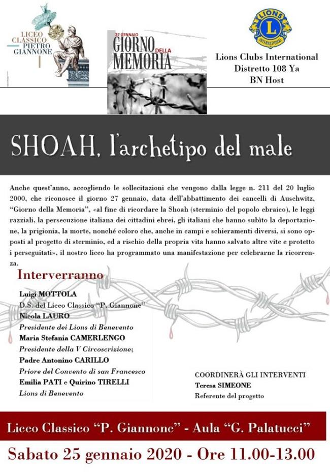 Liceo classico Pietro Giannone e Lions club Benevento host insieme per ricordare la SHOAH.