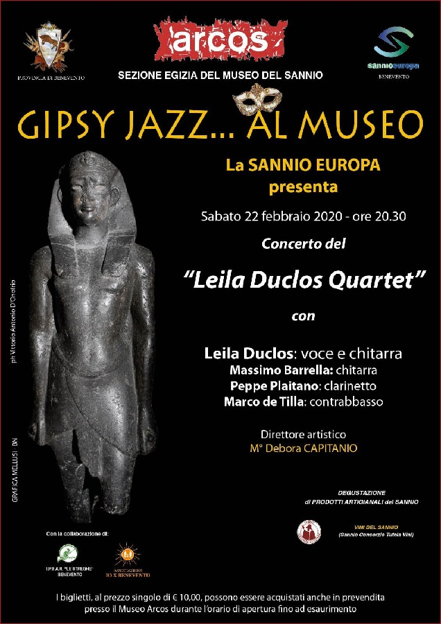 "Sabato 22 Febbraio all'Arcos concerto di Gipsy Jazz del ""Leila Duclos Quartet""."