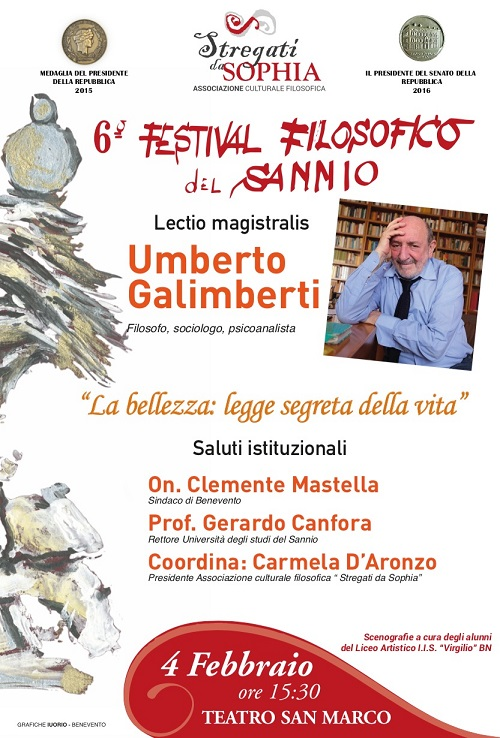 Il 6° Festival filosofico del Sannio inizia con due incontri martedi 4 e  mercoledi 5 Febbraio 2020 presso il Teatro San Marco
