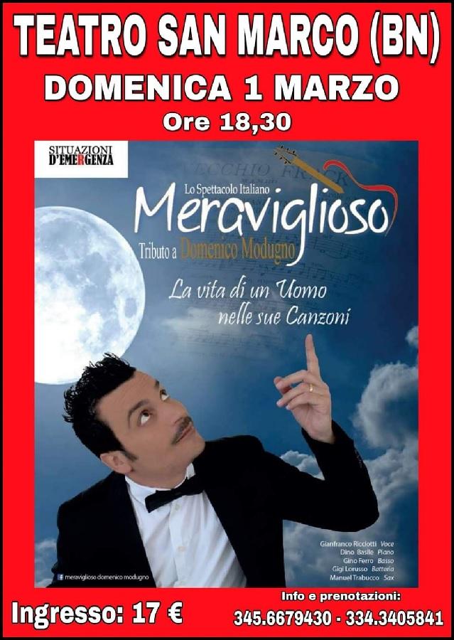 """Invito a Teatro: con """"Meraviglioso"""", omaggio a Modugno."""