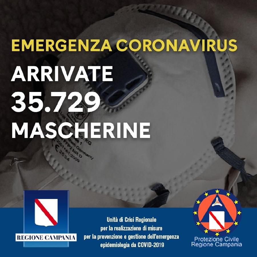 De Luca.  #Coronavirus, arrivate 35.729 mascherine in Campania