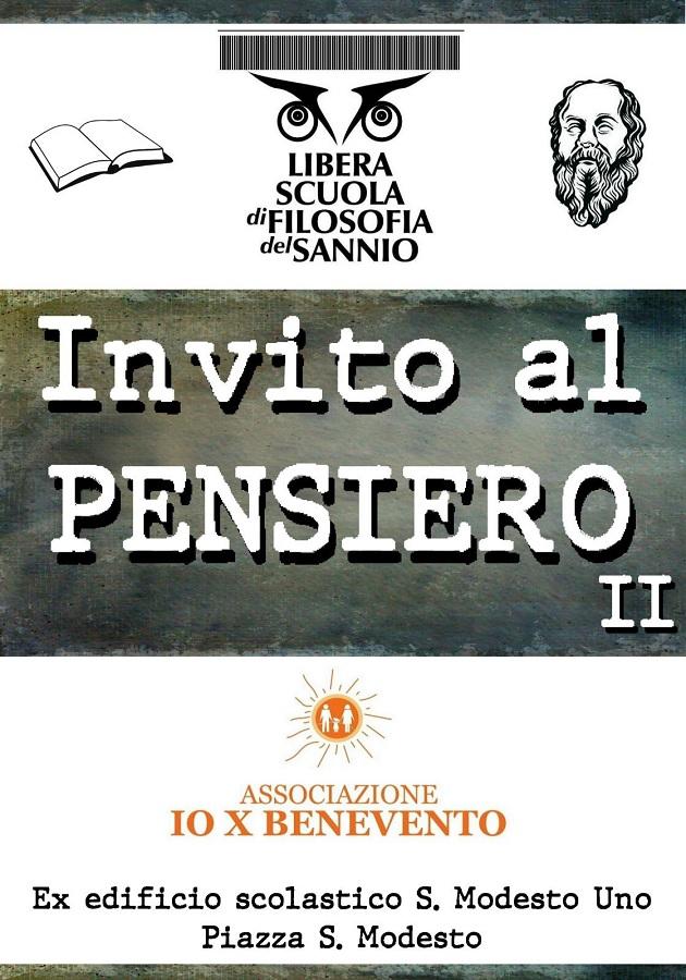 """Io X Benevento, parte il II° ciclo di incontri filosofici """"Invito al Pensiero"""""""