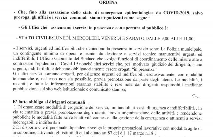 Coronavirus. Benevento,  Ufficio Stato Civile si cambia