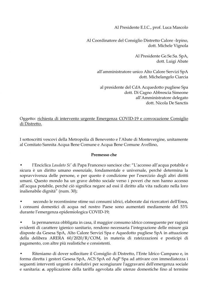 Appello del comitato Sannita Abc e del comitato Avellino Acqua Bene Comune, per tutelare il diritto all'acqua durante l'emergenza Covid 19.