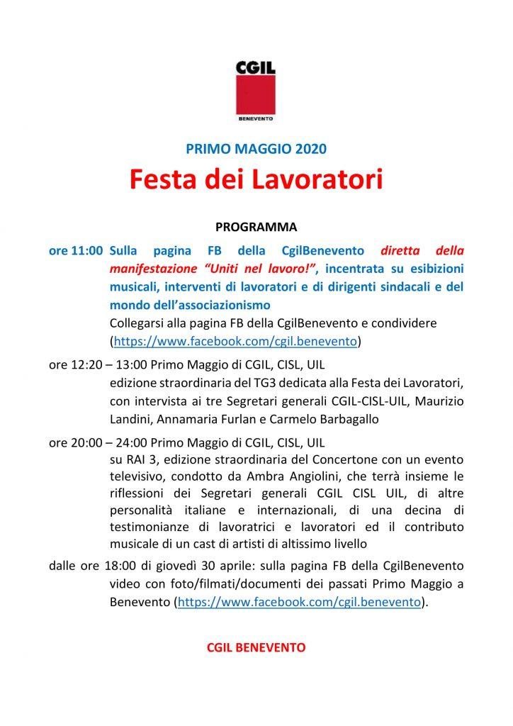CGIL Benevento, il primo Maggio diretta FaceBook