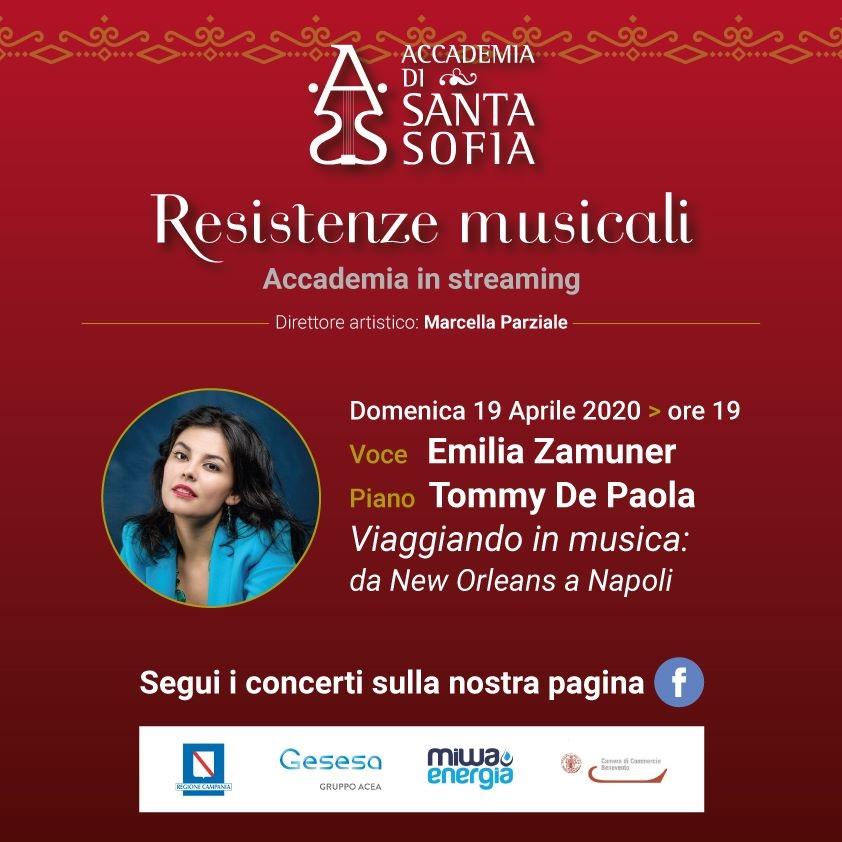 Accademia Santa Sofia. Domenica 19 Aprile Emilia Zamuner per  Resistenze Musicali, rassegna streaming