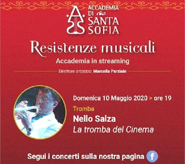 """Accademia Santa Sofia:Nello Salza, """"La Tromba del cinema"""" in concerto streaming il 10 Maggio"""
