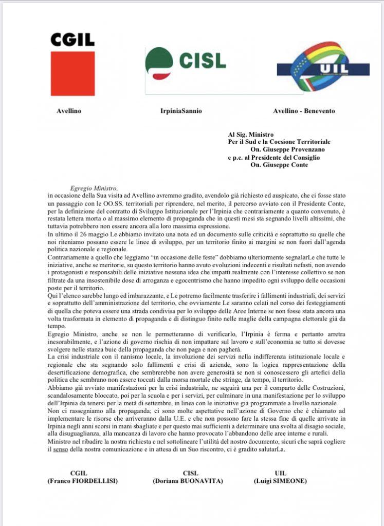 Dalla UIL Benevento Avellino lettera al Ministro Provenzano