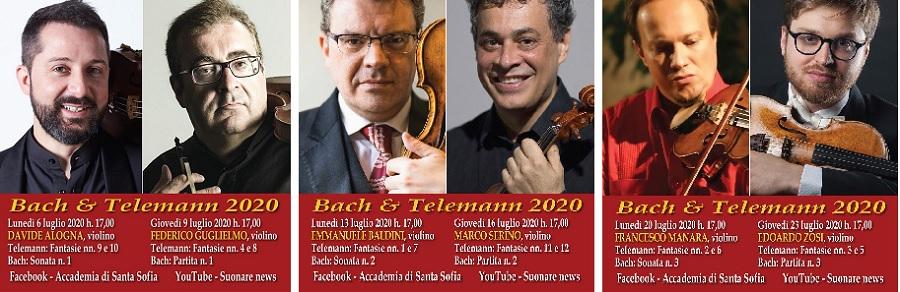 Santa Sofia, Bach-Telemann, Baldini-Serino.Sei imperdibili concerti diffusi on line dal 6 al 23 luglio