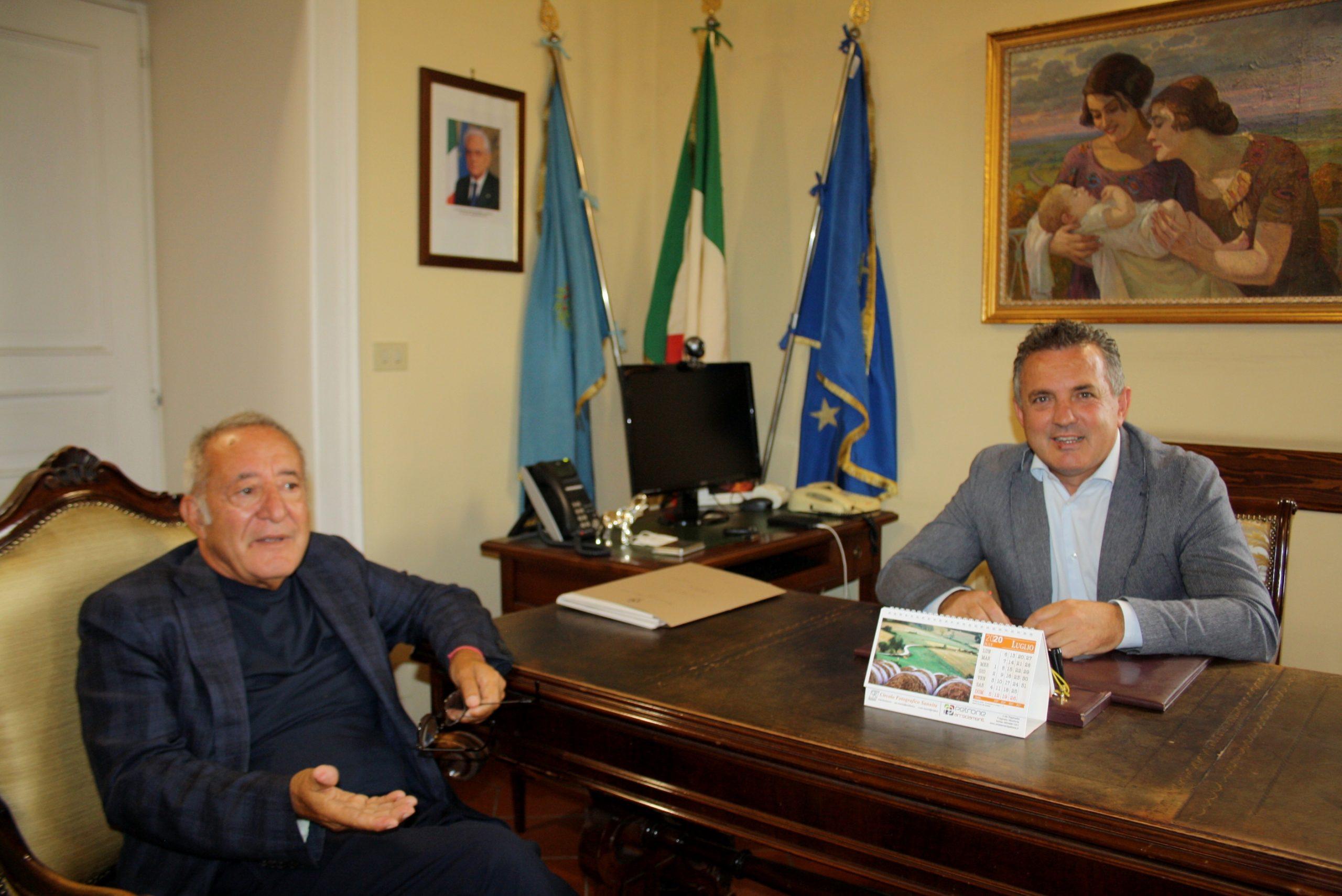 Il Presidente del Benevento Calcio Vigorito ricevuto dal Presidente della Provincia Di Maria alla Rocca dei Rettori