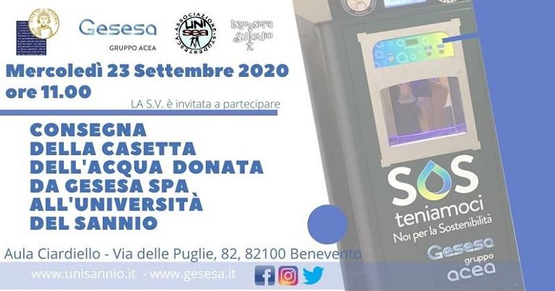 """Gesesa consegna la prima """"Casetta dell'Acqua"""" all'Università del Sannio."""