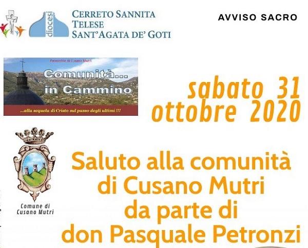 Cusano Mutri, sabato 31 ottobre il saluto di don Pasquale Petronzi alla comunità