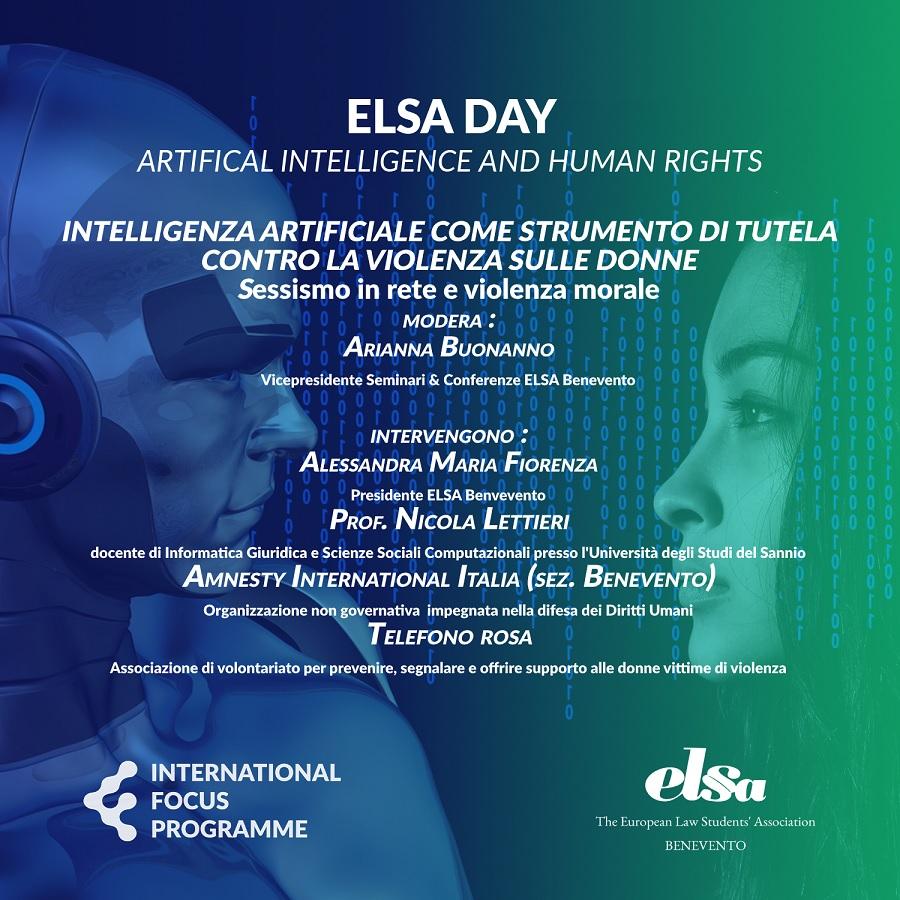 ELSA Benevento in occasione della giornata mondiale contro la violenza di genere organizza un evento digitale a tema