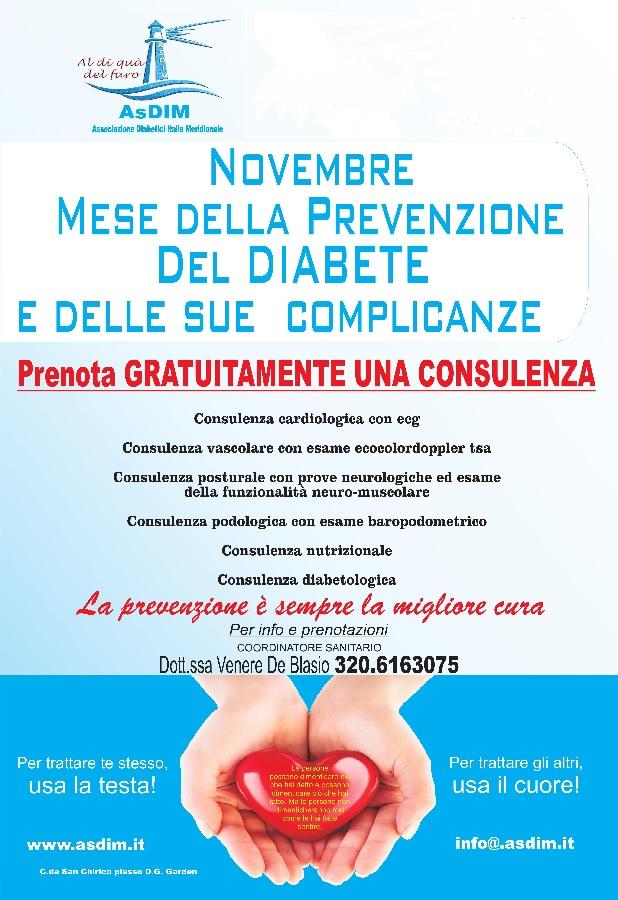 Novembre, mese della prevenzione del Diabete. Da domani al via screening gratuiti dell'AsDim.
