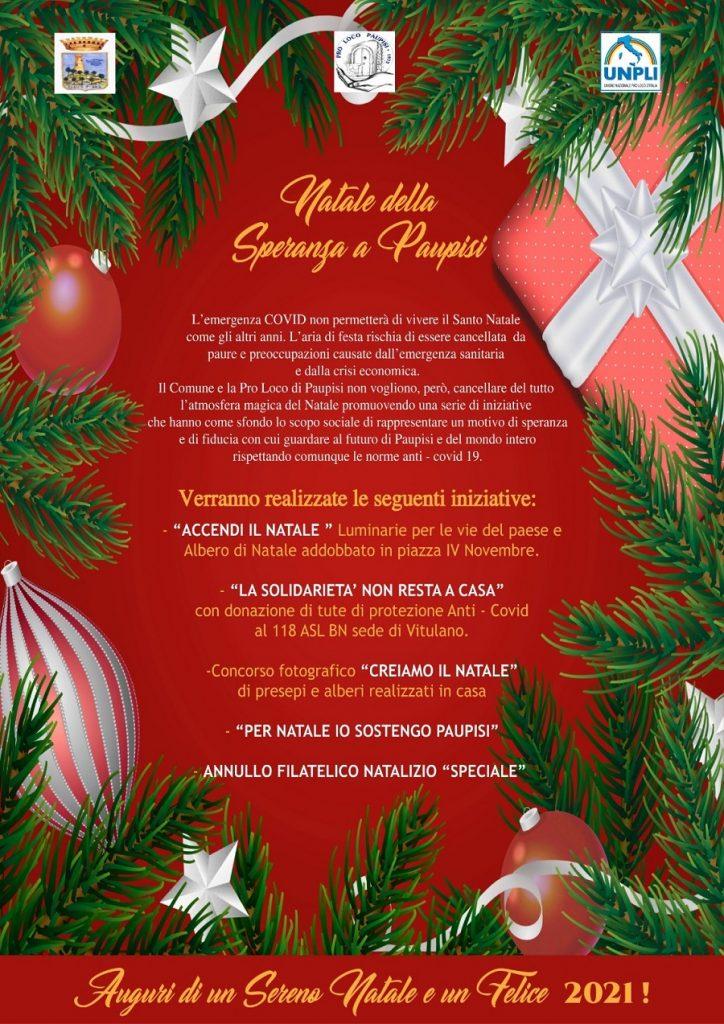"""Paupisi – Pro Loco e Comune insieme Orsillo : """"Al Covid non permetteremo di spazzare via il Natale: ecco il cartellone"""""""