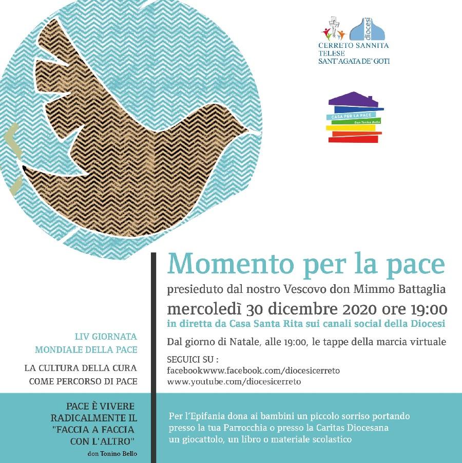 """Casa per la Pace """"Don Tonino Bello"""", preghiera interreligiosa per la pace on-line mercoledì 30 dicembre ore 19"""
