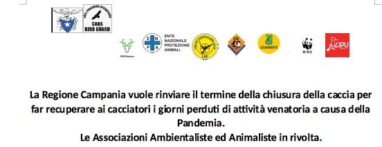 La Regione Campania vuole rinviare il termine della chiusura della caccia