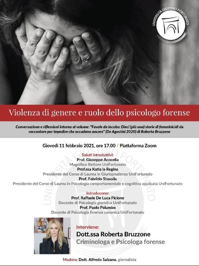 UniFortunato Giovedì 11 febbraio ore 17.00, Violenza di Genere e Ruolo dello Psicologo Forense