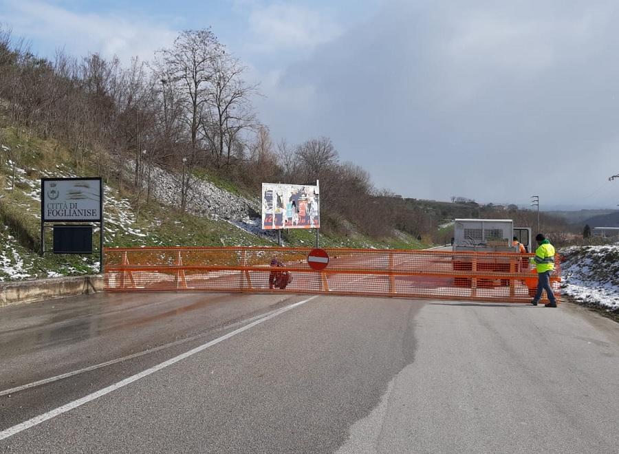 Chiusa al traffico la S.P. 152 Fondo Valle Vitulanese