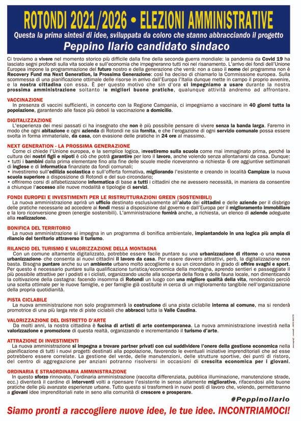 Elezioni Amministrative Rotondi, Peppino Ilario candidato a Sindaco