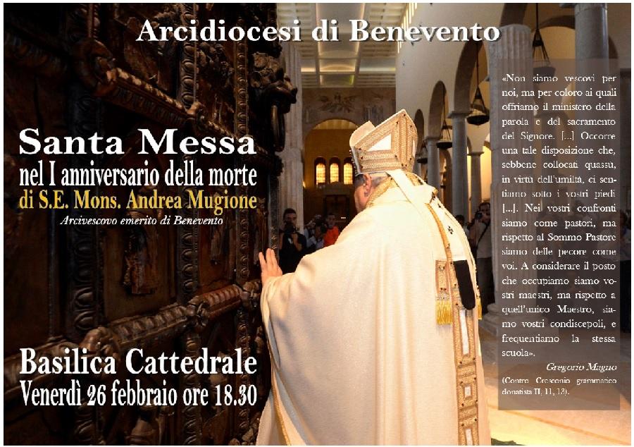 Il 26 Febbraio mons. Accrocca celebrerà una Santa Messa per il primo anniversario della scomparsa di mons. Mugione