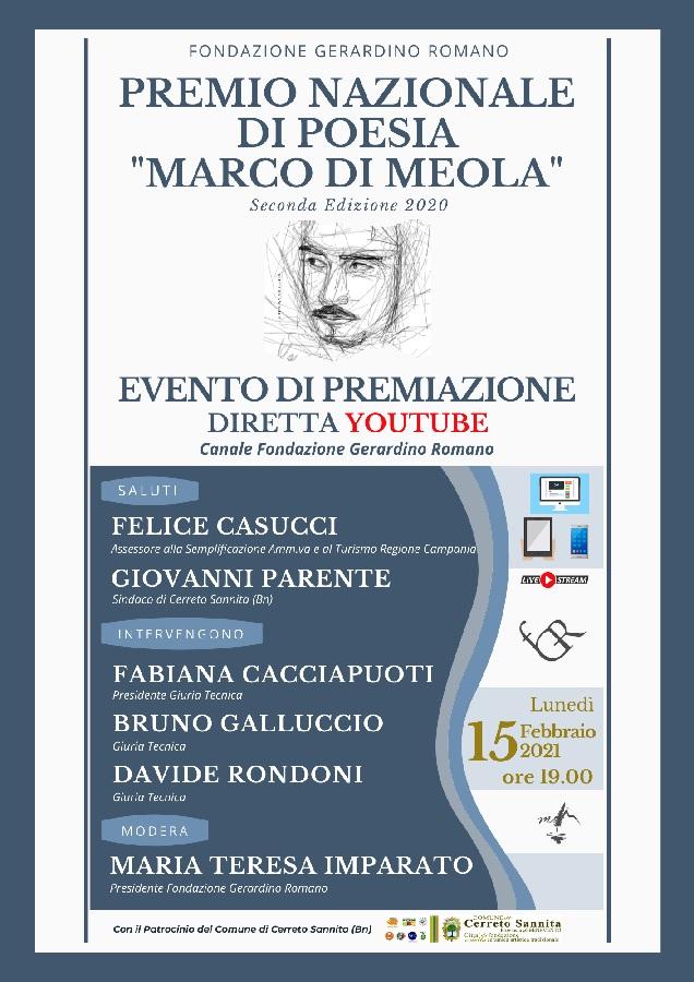 """Premio Nazionale di Poesia """"Marco Di Meola"""" alla Fondazione G. Romano"""