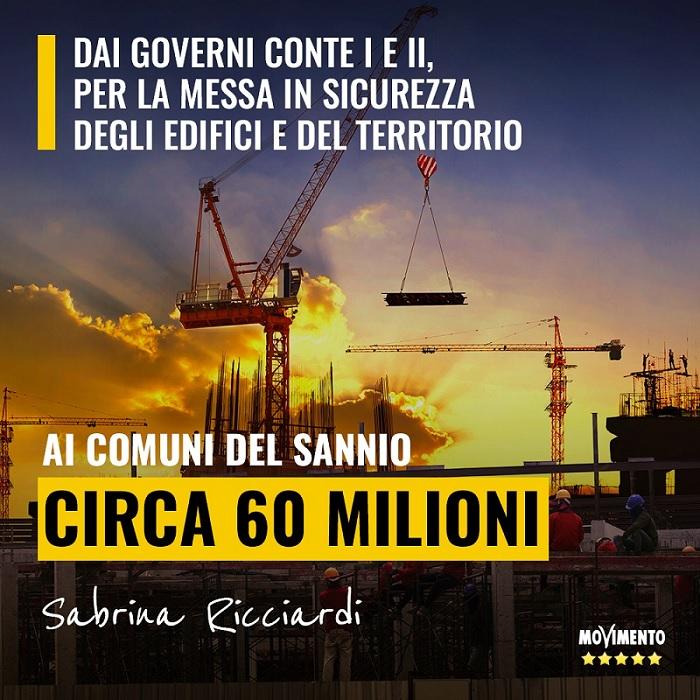 Sen. Ricciardi: dal Governo  60 Milioni di euro al Sannio per la messa in sicurezza di Scuole, Edifici e Territorio.