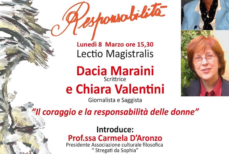 Lunedi 8 Marzo il quinto appuntamento del 7° Festival Filosofico del Sannio con Dacia Maraini e Chiara Valentini