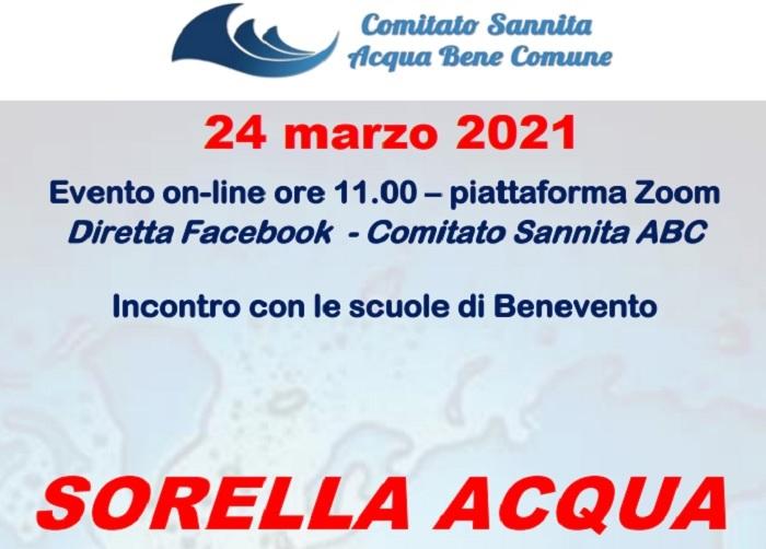 """Incontro on line """"Sorella Acqua"""" Comitato Sannita ABC con con l'Arcivescovo Accrocca, padre Zanotelli e le scuole il 24 Marzo"""