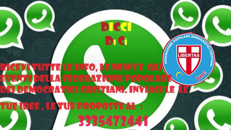 Democratici Cristiani. Nasce il primoBroadcast Whatsapp della città e della Provincia di Benevento: DICCI DICì.