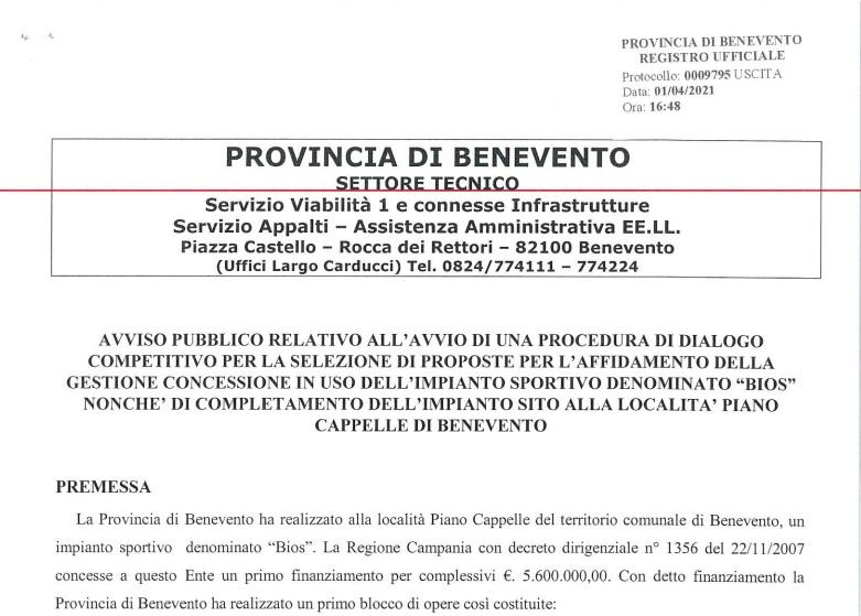 """Provincia. Entro il 19 Aprile le domande per il cmpletamento e la gestione del """"Bios""""."""