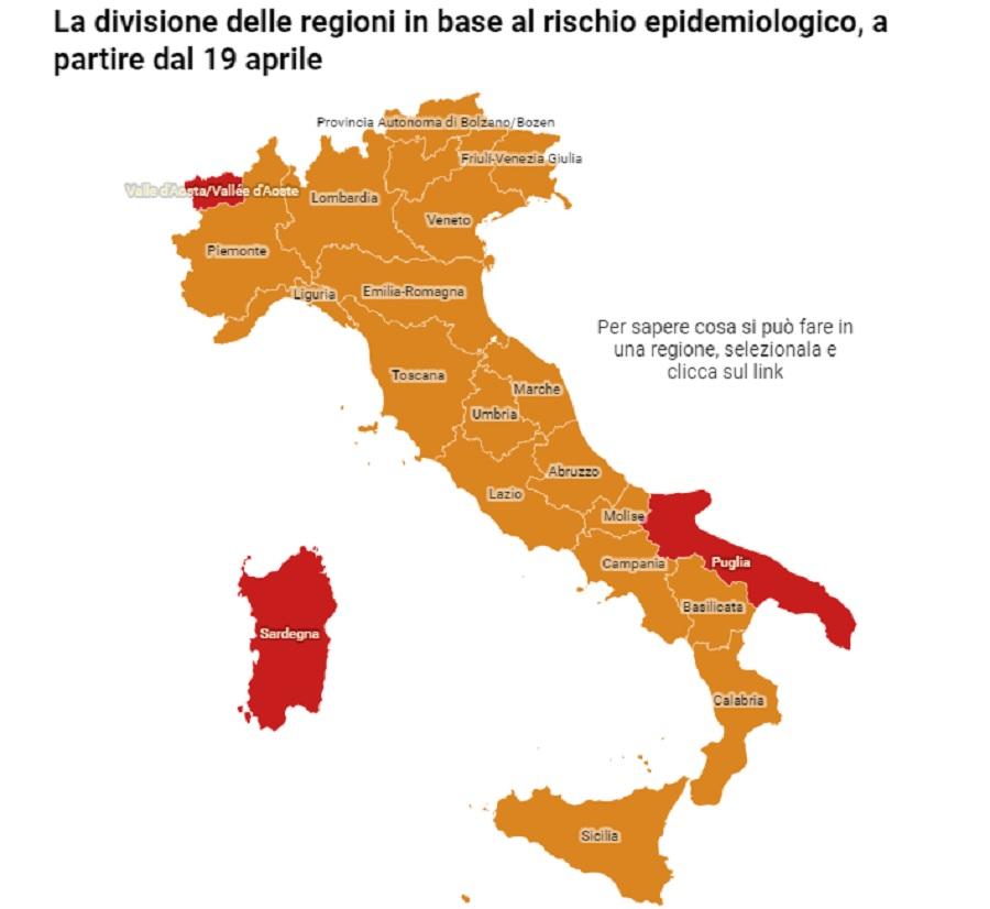 Da lunedì 19 Aprile la Campania in zona arancione