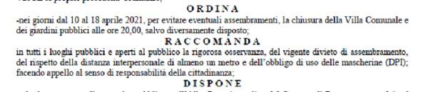 Benevento. Ordinanza Sindacale di orario di chiusura della villa comunale