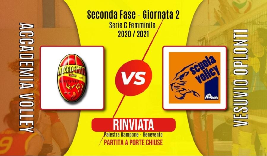 Seconda Fase, rinviata Accademia Volley vs Vesuvio Oplonti
