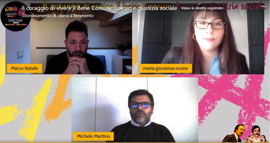 Lavoro e giustizia sociale nel convegno online del Presidio di Libera Valle Caudina-Valle Telesina.
