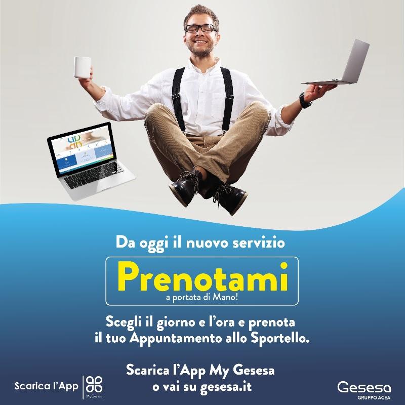 """GESESA per Te, da oggi il nuovo servizio digitale """"Prenotami"""", per garantire più attenzione e sicurezza ai clienti."""
