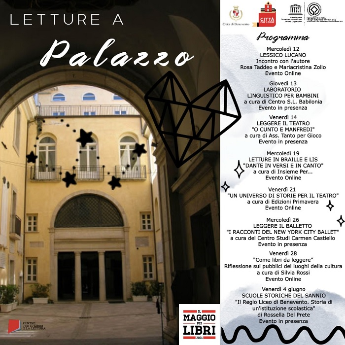 """Letture a Palazzo, dal 12 maggio otto appuntamenti dedicati alla lettura per """"Benevento Città che legge"""""""