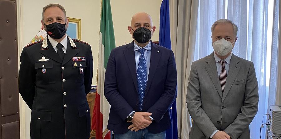 Il neo comandante dei Carabinieri Apicella ricevuto dal Prefetto Torlontano