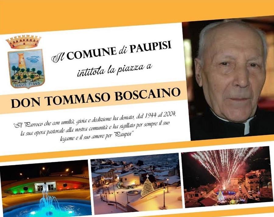 Sabato intitolazione della piazza antistante l'edificio comunale di Paupisi a don Tommaso Boscaino