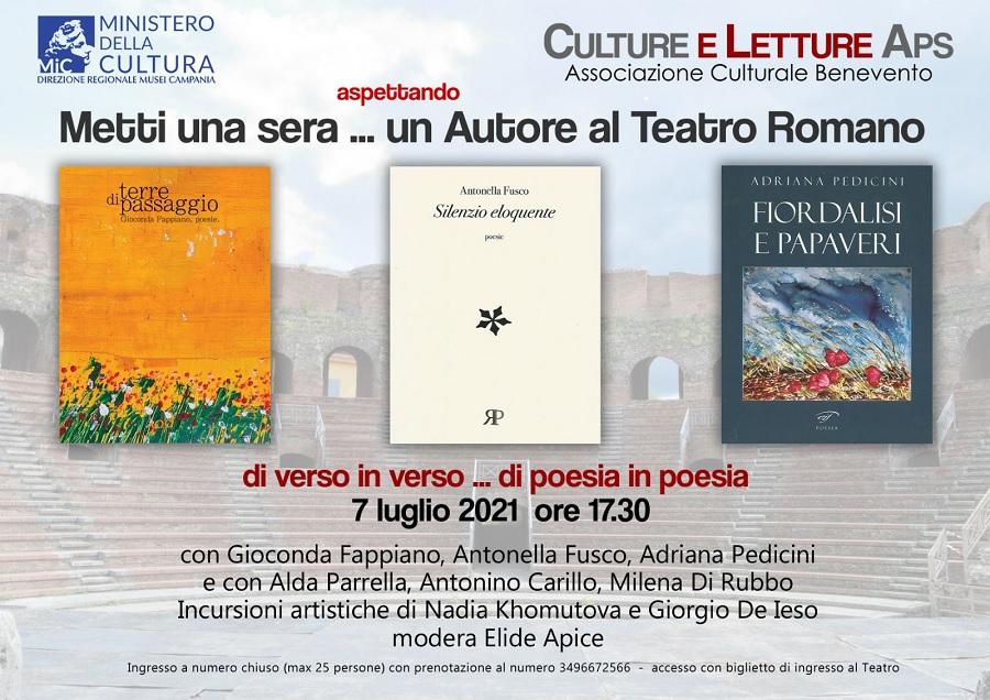 Ultimo appuntamento prima della pausa estiva per le iniziative organizzate da Culture e Letture aps al Teatro Romano