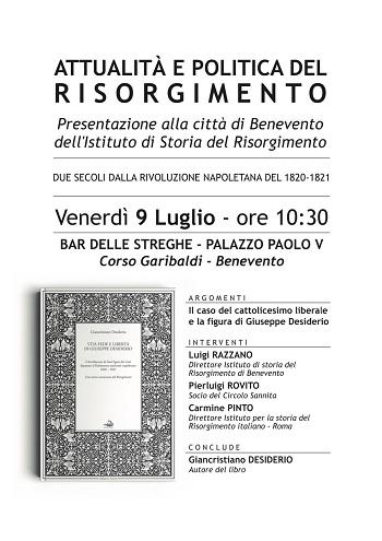 Venerdì 9 luglio, presentazione Istituto Storico del Risorgimento sezione di Benevento