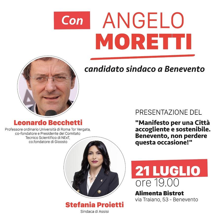 Angelo Moretti, oggi presentazione Manifesto per una città accogliente e sostenibile. Benevento, non perdere questa occasione!