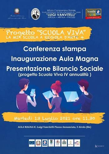 """L'IC """"Luigi Vanvitelli"""" di Airola inaugura la rinnovata Aula Magna, nell'occasione presenterà il Bilancio Sociale 2020/2021"""