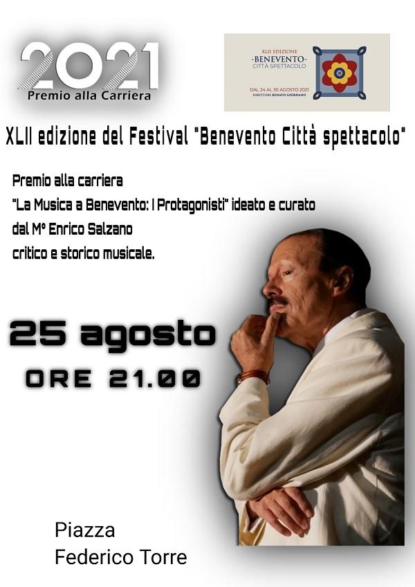 """Festival Benevento Città Spettacolo 2021: Mercoledì premio alla carriera """"La musica a Benevento"""" XV edizione"""