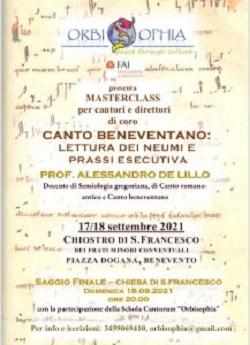Orbisophia: nel weekend Master Class sul Canto Beneventano