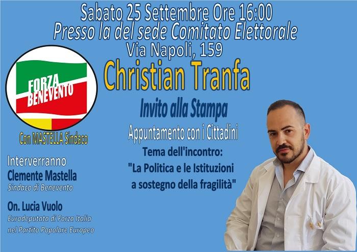 Incontro elettorale di Christian Tranfa (Forza Benevento) il 25 settembre