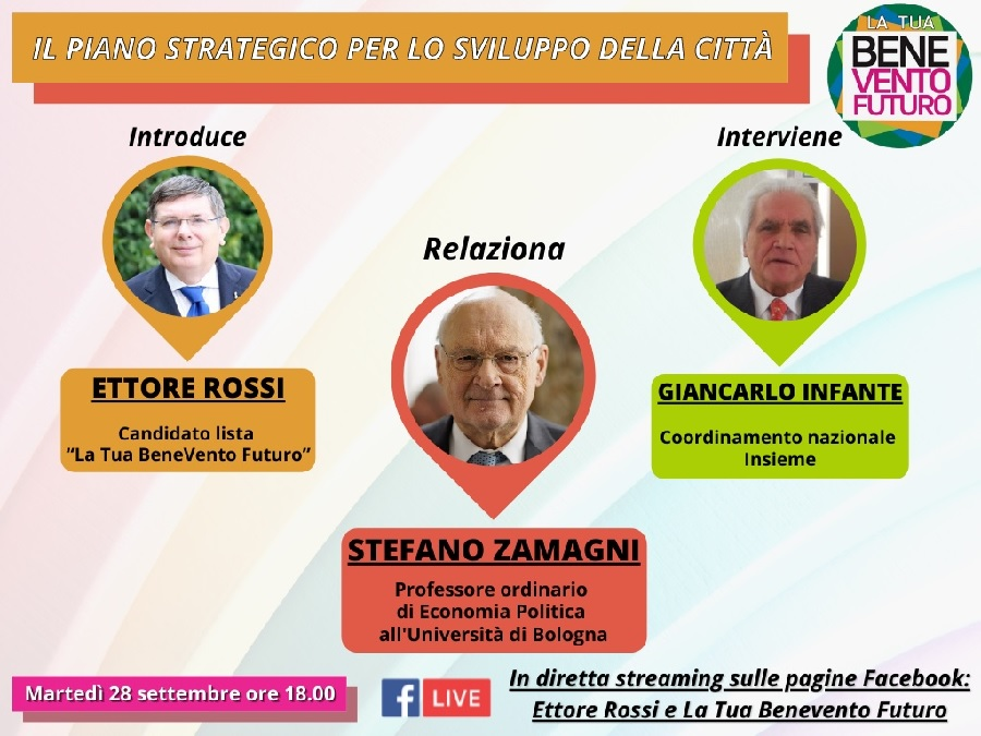 """""""La tua BeneVento Futuro"""": Stefano Zamagni in videoconferenza per parlare del piano strategico della città"""